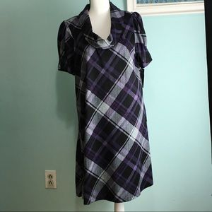 Jessica Howard- Plaid Crowl Neck Sweater Dress